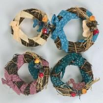 "Wreath Brn Twigs w/Berry/Ribbon Asst*4 4"""