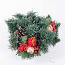 """Candle Ring Grn Pine w/Cone/Berry/Gift Boxes 8"""""""