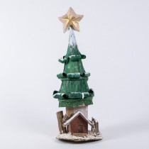 Tree Cone Grn Husk w/Star/Snow/House 12""
