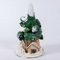 Tree Cone Green w/Snow/House 8""