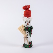 Snowman White Paper Mache w/Broom 6""
