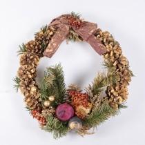 "Wreath Gold Cone w/Pine/Apple 10"""
