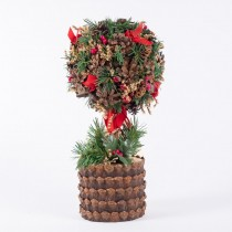Topiary Brn Cone w/Berry/Pine 10""