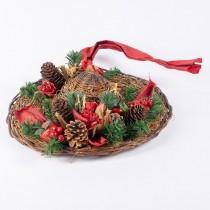 "Hat Brn Rattan w/Cone/Pine/Berry 12"""
