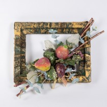 Wreath Square Grn/Gold w/Fruits Bundle 12""