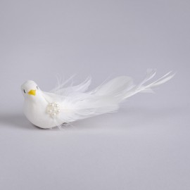 """Bird White Feather w/Pearl/Long /Clip 6.25"""""""