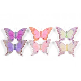 """Butterfly Yellow/Pink/Lavender 2.5"""""""
