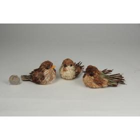 "Bird Jute w/Twig Tail Brn Asst*3 2"""