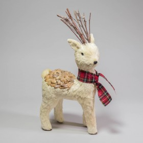 Deer White Jute w/Plaid Scarf 15""